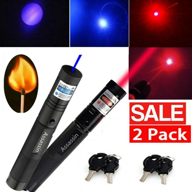 2 Pack 1mw 900Miles Red Blue Purple Laser Pointer Pen Visible Lazer Single Beam
