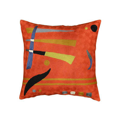 """Kandinsky Pillow Cover Orange Elements Needlepoint Hand Embroidered 18"""" x 18"""""""
