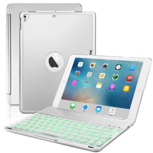 7 Colors Backlit Bluetooth Keyboard Case Folio ipad Silver C