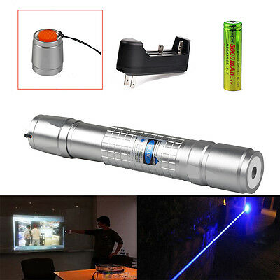 1mw 405NM Blue-Purple Laser Pointer Pen Visible Beam Light + 18650 + Charger USA
