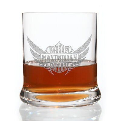 Whiskeyglas mit gratis Gravur des Namens Motiv:  Biker Logo
