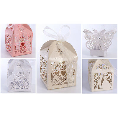 Mrs Favor Boxes - Mr Mrs Love Heart Laser Cut Wedding Party Favor Ribbon Candy Boxes Gift Box
