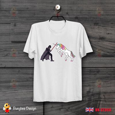 Star Wars Dart Vader vs Unicorn Funny Retro CooL Unisex Vintage T Shirt B202