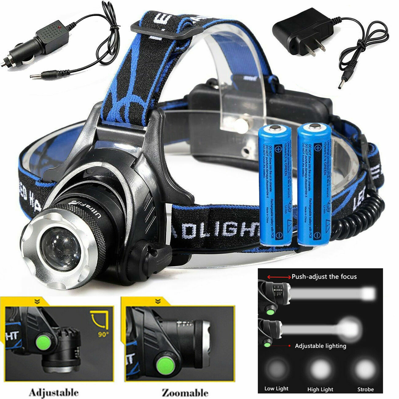 990000LM LED Headlamp Rechargeable Headlight Zoomable Head Torch Lamp Flashlight Flashlights & Work Lights