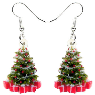Acrylic Christmas Tree Gift Earrings Drop Party Decoration Jewelry For Women Kid