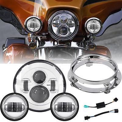 "Chrome 7"" Daymaker LED Headlight 4.5'' Auxiliary Fog Passing Light Set F/ Harley"