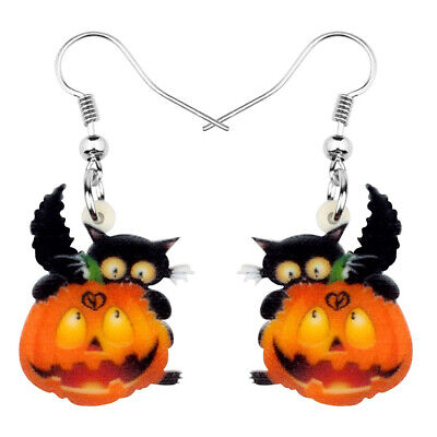 Acrylic Halloween Black Cat Pumpkin Earrings Dangle Decor Jewelry For Women Gift