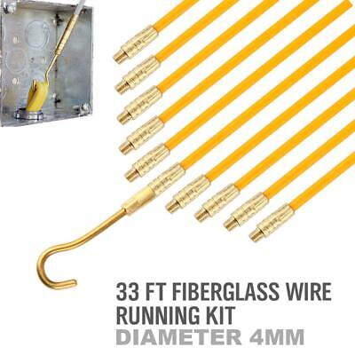 33ft Fiberglass Running Wire Cable Coaxial Electrcal Fish Tape Pull Push Kit