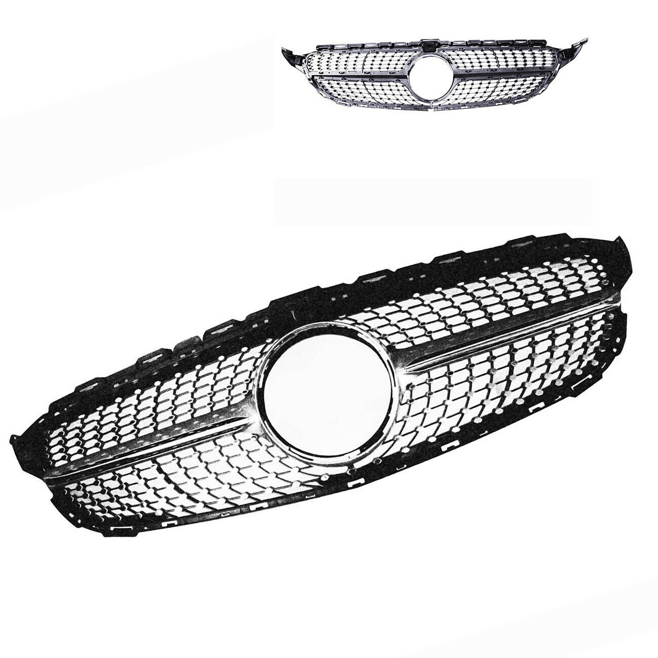 FOR Mercedes Benz C63 AMG Front Diamond Mesh Grille (with