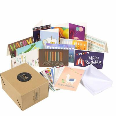 144 Pack Assorted Greeting Happy Birthday Cards - Bulk Box Variety Set Includes