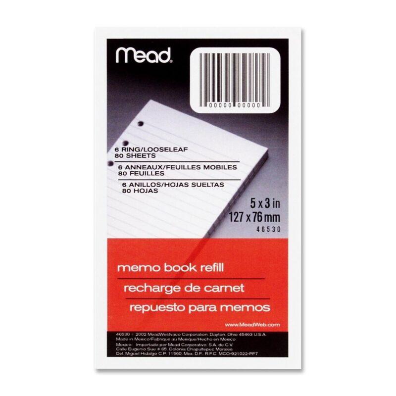 "Mead Memo Filler 5"" X 3"" 6 Ring (3-Pack) 46530"