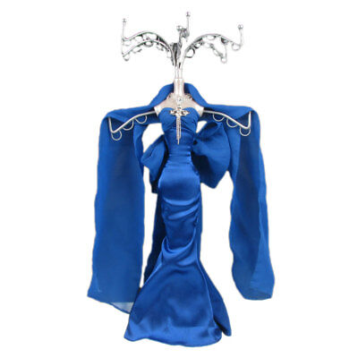 Mannequin Jewellery Stand Tree Display Necklace Holder Lady Navy Blue Dress