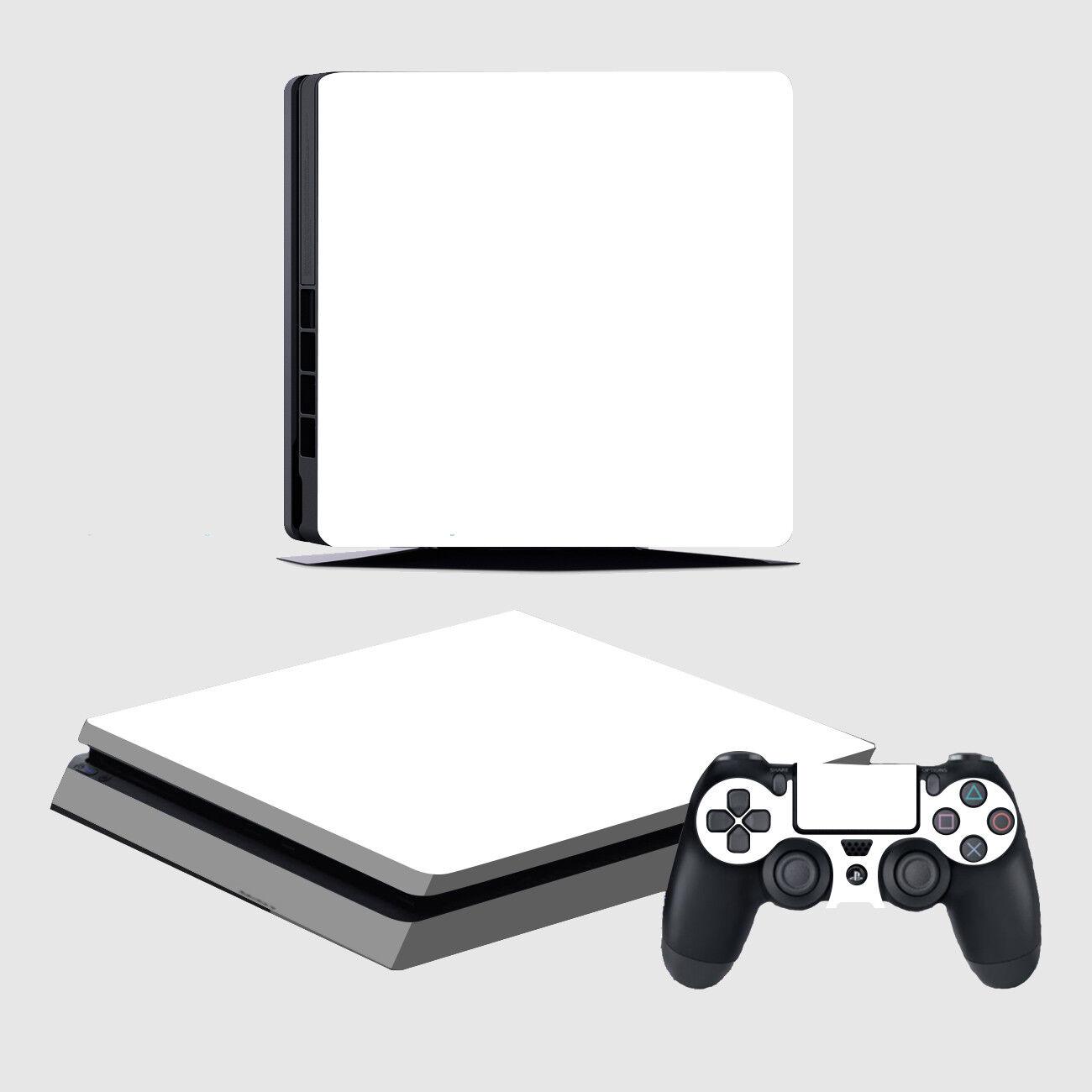 Playstation 4 Slim Konsole Designfolie Skin Schutzfolie Folie Schutz Design Weiß