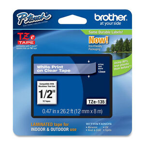 Brother-TZ135-1-2-white-on-clear-PTouch-label-tape-PTD200-PTH300-H300-PTH100