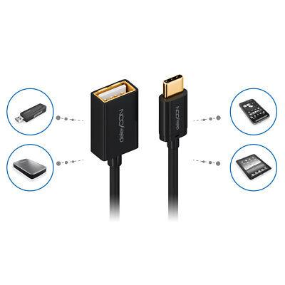 deleyCON USB C OTG Adapter Kabel C-Stecker zu A-Buchse Handy Smartphone Tablet