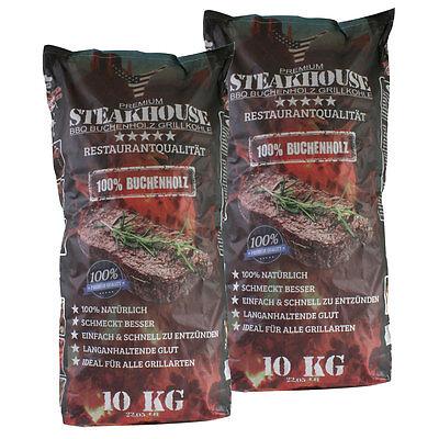 STEAKHOUSE Grillkohle 2 Säcke á 10 kg = 20 kg BBQ Profi-Holzkohle aus 100% Buche