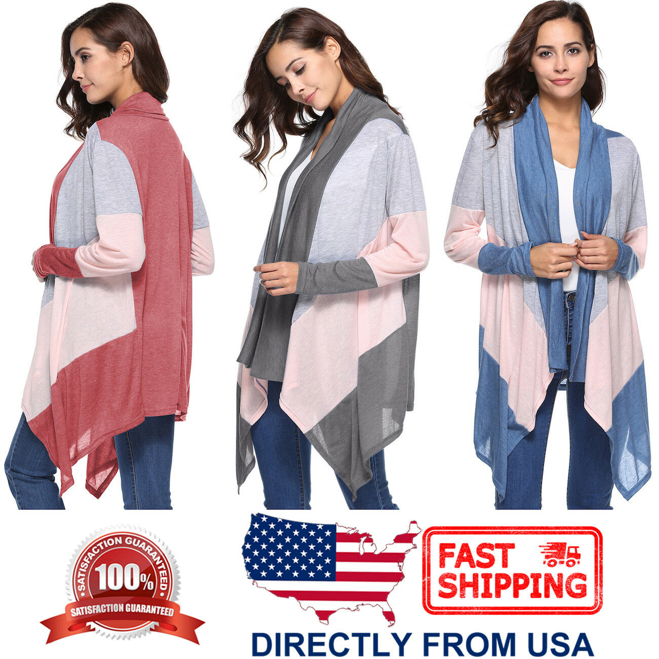 Women's Flutter Lightweight Long Sleeve Color Mix Cardigan Clothing, Shoes & Accessories