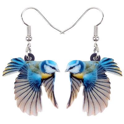 Acrylic Lovely Blue Tit Bird Earrings Drop Dangle Animal Jewelry For Women Girls