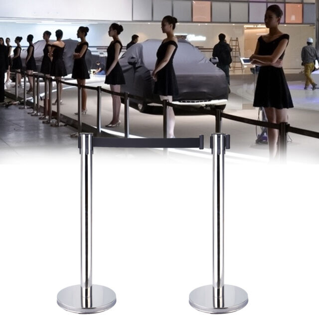 1 set hight quality crowd control stanchions 2 pcs black retractable belt