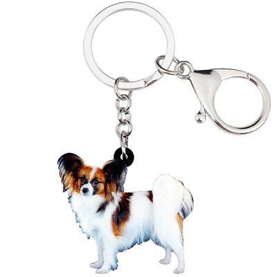 Acrylic Cute Papillon Dog KeyChains Rings For Women Purse Car Key Holder - Cute Keychains For Car Keys