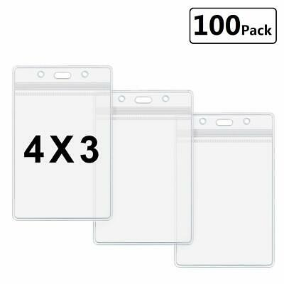 Plastic Name Tag Holders 4x3 Vertical Badge Holder Clear ID Card Holder   - Plastic Name Badge Holders