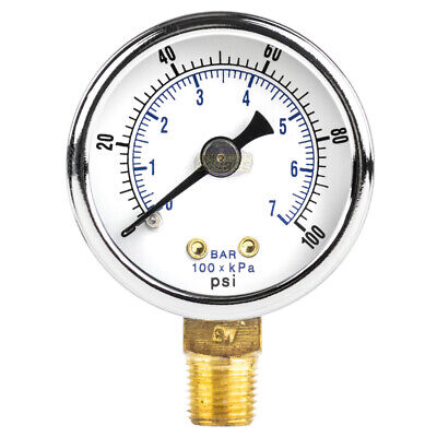18 Npt Air Compressor Hydraulic Pressure Gauge 0-100 Psi Side Mount 1.5 Face