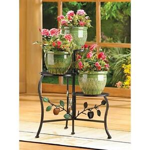WROUGHT IRON COUNTRY APPLE PLANT STAND 3~TIER SHELF NEW~39857