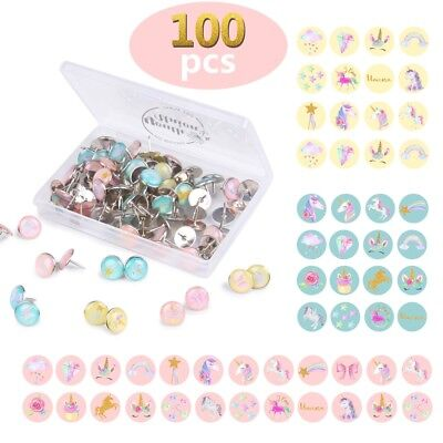 100Pcs Unicorn Push Pins Decor Thumbtacks for Wall Map Photo Bulletin Cork Board ()