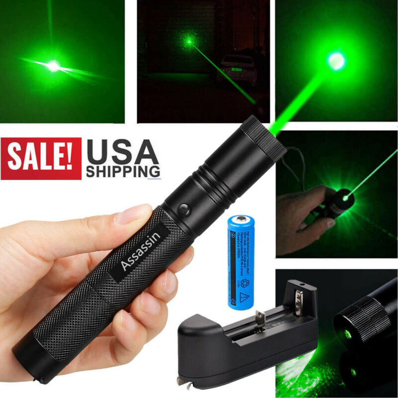 900Miles Green Laser Pointer Pen 532nm Rechargeable 1mw Lazer Torch+Batt+Charger