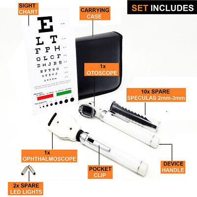 New Fiber Optic Otoscope Ophthalmoscope Examination Led Diagnostic Ent Set White