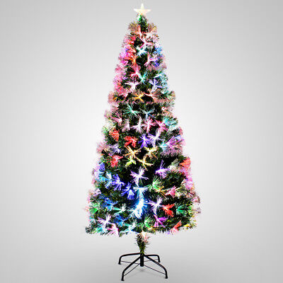 7ft Pre-Lit Fiber Optic Artificial Christmas Tree Snow Multicolor Lights Stand ()