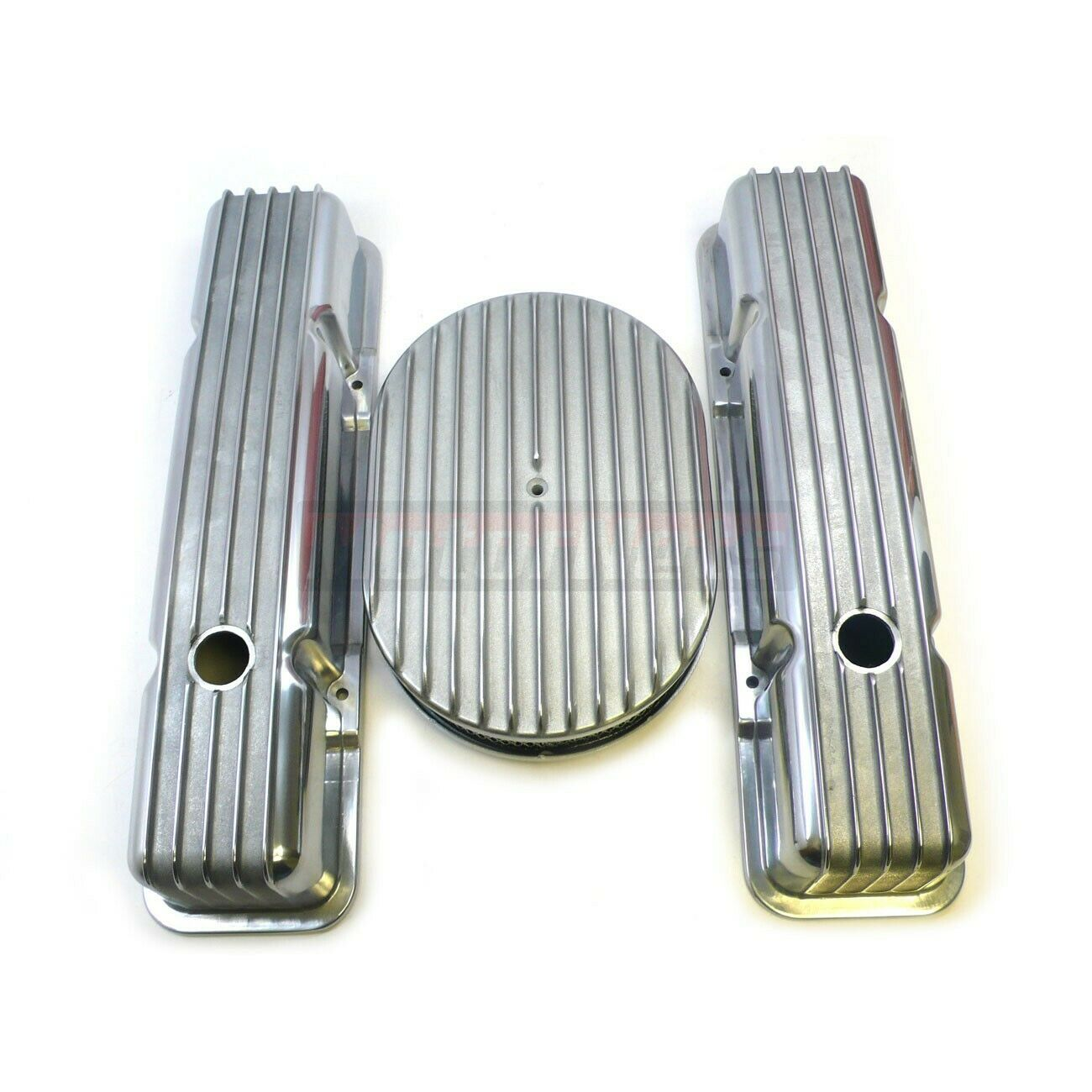 """SBC Chevy Nostalgic Aluminum Fin Tall Valve Cover 12/"""" Air Cleaner Dress up350283"""