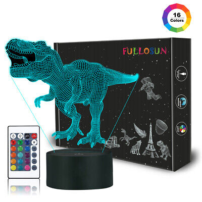 Dinosaur Toy, 3D Night Light for Kids Toy Dinosaur T-rex Remote Control 16 Color