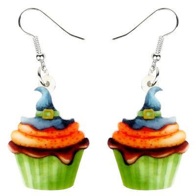 Acrylic Halloween Magical Hat Cupcake Earrings Drop Dangle Jewelry For Women - Halloween Cupcakes For Kids