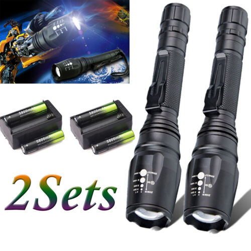 US Tactical 50000LM 5Modes T6 LED Flashlight Zoomable 18650 Military Focus Torch