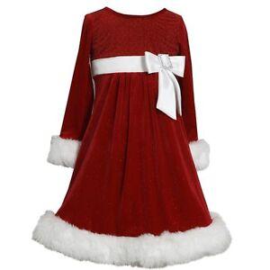 Girls red glitter velvet santa christmas bow dress 12 18 24 months