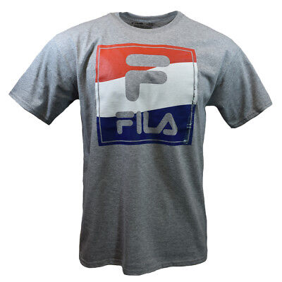 FILA Men's T-shirt - Sports Apparel Red,White,Blue frame-Athletic Heather Gray