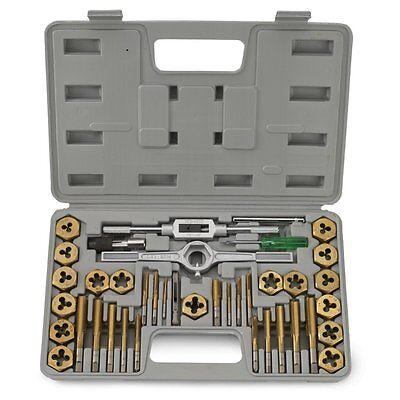 40 Pc Titanium Tap And Die Tool Set Sae Fine Standard