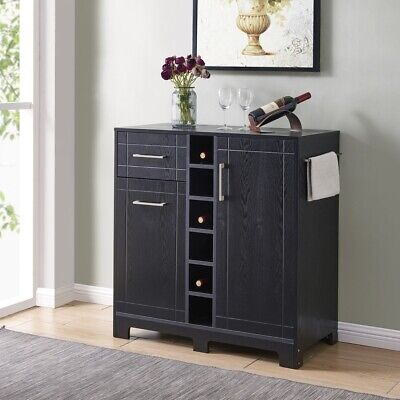 Black Bar Cabinet (Vietti Home Bar Cabinet with Bottle Glass Storage & Drawers in Black Oak)