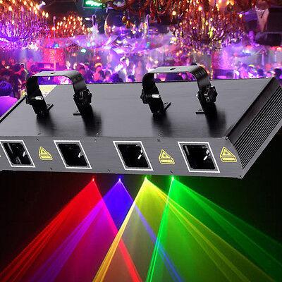 460mW 4 Lens 4 Beam RGPY DJ Laser Lights Stage Lighting Party Show DMX 7CH Disco