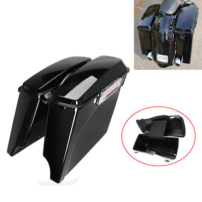 """4"""" Painted Vivid Black Stretched Extended Hard Saddle bags For Harley Touring for sale  Rowland Heights"""