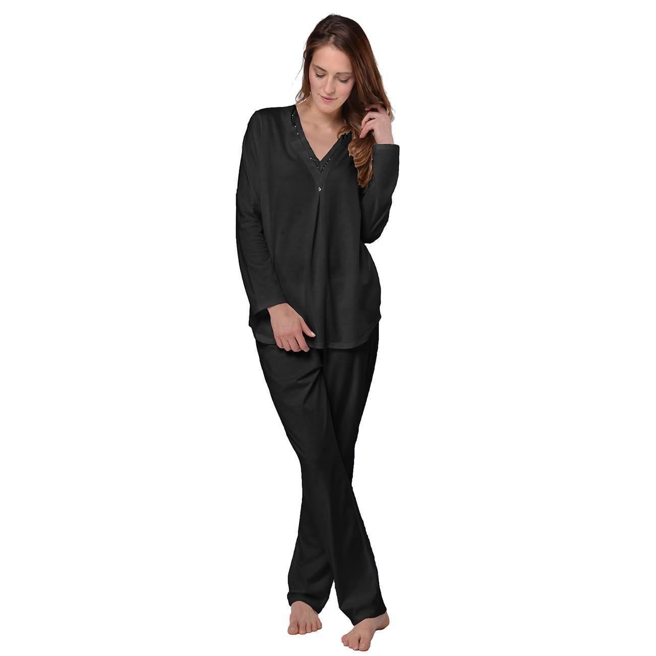 18d84e2954 Desen Damen Hausanzug Pyjama 100% Baumwolle,Schlafanzug Oberteil mit  Pailletten