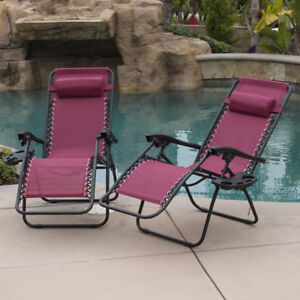 Burgundy Anti Gravity Chairs Set of 2  Adjustable Reclining  Utility Tray Cup