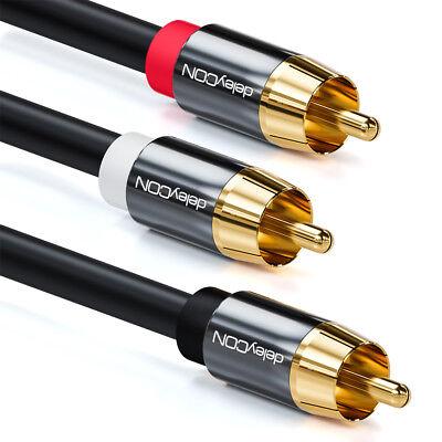 deleyCON 2m Subwoofer Kabel Cinch RCA Y-Kabel HiFi Audio Kabel 3x Cinch Stecker gebraucht kaufen  Berlin