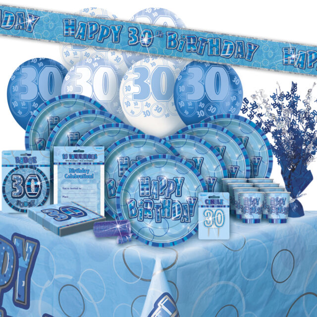 AGE 30/30TH BIRTHDAY BLUE GLITZ PARTY RANGE (Balloon/Decorations/Banner/Napkins)