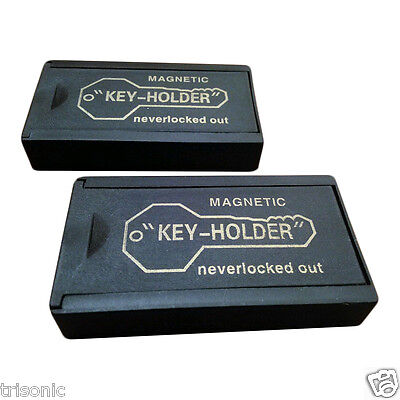 TWO Jumbo Magnetic Key Holder Car Spare Hider Hidden Box Extra Case Box Locker
