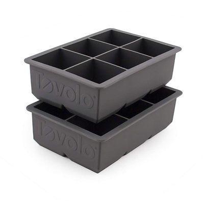 Tovolo King Cube Gray Silicone Ice Cube Tray / Mold - Set of 2 (Tovolo Ice Cube Tray)