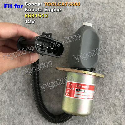 Fuel Flameout Solenoid 6681513 12v For Bobcat Toolcat5600 Kubota V2203 331 341