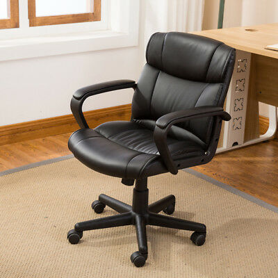 Ergonomic Pu Leather Mid-back Executive Computer Desk Task Office Chair Black