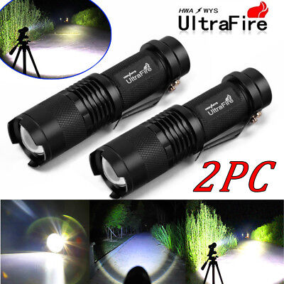 2PCS UltraFire T6 15000Lumens LED Zoomable Flashlight Police Torch Lamp USA